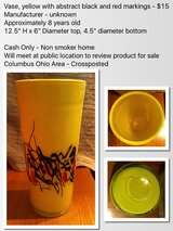 Vase, yellow with abstract black and red markings in Columbus, Ohio