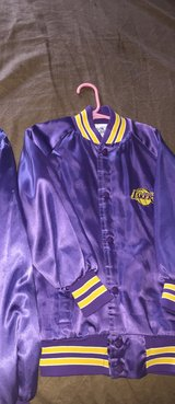 CHILDRENS VINTAGE LA LAKERS STAIN CHALK LINE JACKET in Fort Carson, Colorado