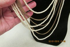 Vintage Multi-Strand Pearl & Goldtone Chain Necklace -- REDUCED! in Kingwood, Texas