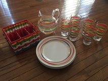 World Market ~ outdoor dishware tableware ~ striped in Bartlett, Illinois