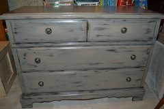 Shabby Distressed Dresser Console Table Cabinet Neutral Accent piece in Aurora, Illinois