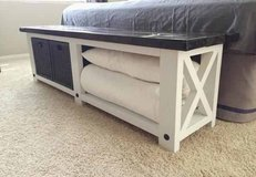 Wood X frame bench footboard bed in Camp Lejeune, North Carolina