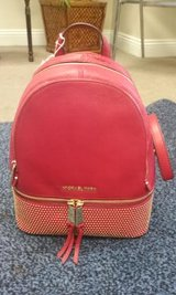 NWT AUTH MICHAEL KORS RHEA ZIP SMALL MICROSTUD LEATHER BACKPACK RED 30H5GEZB9L in Birmingham, Alabama