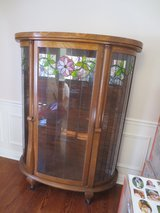 Antique Oak Beveled Leaded Cut Glass China Cabinet in Elgin, Illinois