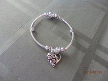 Silver Stretch Bracelet with Heart in Joliet, Illinois