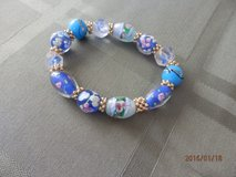 Blue Glass Beads Stretch Bracelet in Joliet, Illinois