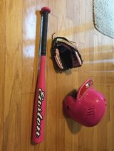 Youth Pink T-ball bat, glove and helmet in Fort Eustis, Virginia