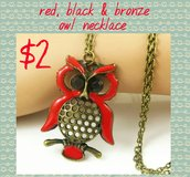 Red, black and bronze owl necklace in Columbus, Georgia