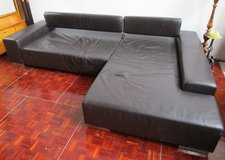 Real Leather Designer Couch with Bed Function in Ramstein, Germany