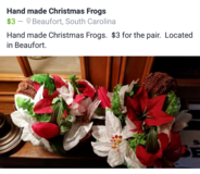 Homemade Wicker Christmas Frogs in Beaufort, South Carolina