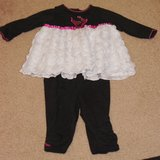 INFANT TOP AND PANTS, BLACK & WHITE WITH FUSCHIA ACCENTS in Lakenheath, UK