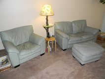 3 Piece Mint Green Leather Living Room Set in Naperville, Illinois