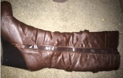 Brown leather wedge boots must see details below in Fort Sam Houston, Texas