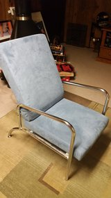 Mid Century Replica Chair, adjustable tilt back, Blue w/chrome  Very Nice! in Naperville, Illinois