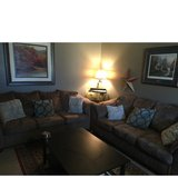 brown microfiber 3 seater couches in Fort Irwin, California
