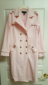 LONGER LENGTH!-Women's/Ladies Medium Pink Button Down Trench Style Coat/Jacket By OuterEdge in Plainfield, Illinois