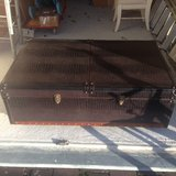 Dark brown leather covered wine chest in Ramstein, Germany