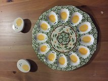 Egg tray with salt and pepper shaker in Ramstein, Germany