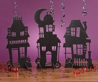 NEW! Halloween 3D Glitter Haunted Houses Silhouettes, 3-Piece by Creative Converting. in Bartlett, Illinois
