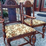 : ) Set of 6 Vintage All Wood & Upholstered Dining Chairs in Naperville, Illinois