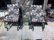 Set Of Glider Patio Chairs With Built In Table + Small Patio Table in Leesville, Louisiana