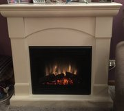 Electronic White Decorative Fireplace in Naperville, Illinois