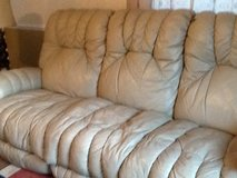 CREAM LEATHER RECLINING COUCH in Camp Lejeune, North Carolina