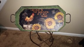 Shabby chic  metal patina tray w stand in Naperville, Illinois