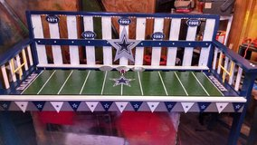 Dallas Cowboy bench/Paper football field/night light in Shreveport, Louisiana