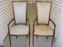 pair of upholstered Victorian armchairs in Conroe, Texas
