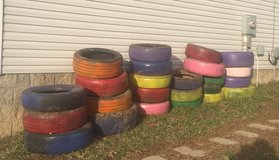 Colored tires in Fort Campbell, Kentucky