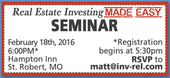 **DON'T MISS THIS**FREE EVENT_ REAL ESTATE INVESTING MADE EASY in Fort Leonard Wood, Missouri