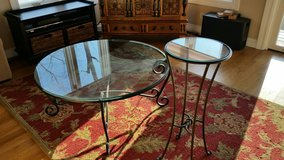 Glass cocktail table and end table in Cary, North Carolina
