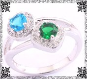 New - Aquamarine and Green Quartz Ring - Size 7 in Alamogordo, New Mexico
