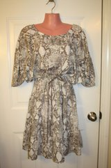Ann Taylor LOFT Light Brown Snake Skin Print Blouson Dress Womens Medium in Houston, Texas