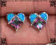New - Heart Blue Fire Opal and Rainbow Topaz Stud Earrings in Alamogordo, New Mexico