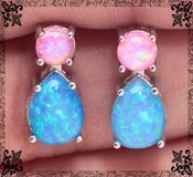 Blue and Pink Fire Opal Earrings in Alamogordo, New Mexico
