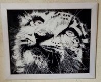 Snow Leopard Painting on Glass in Nellis AFB, Nevada