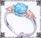 Blue Fire Opal and Morganite Ring - Sizes 8 and 9 in Alamogordo, New Mexico