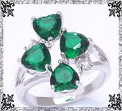 New - Green Quartz Hearts Ring - Sizes 5 1/2 and 8 in Alamogordo, New Mexico