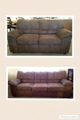 Suede Mocha Couch and Love Seat in Hinesville, Georgia