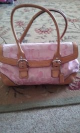 Cute Coach purse ROSE-PINK WITH TAN LEATHER in Aurora, Illinois