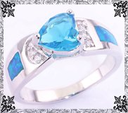 New - Aquamarine Heart and Blue Fire Opal Ring - Size 9 in Alamogordo, New Mexico