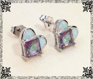 White Fire Opal and Rainbow Topaz Heart Earrings in Alamogordo, New Mexico