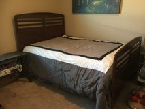 Hardwood Full Panel Bed + Mattress and Box spring in Alamogordo, New Mexico