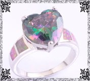 Rainbow Topaz Heart and Pink Fire Opal Ring - Size 7 in Alamogordo, New Mexico