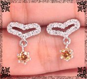 New - Morganite and Zircon Heart Earrings in Alamogordo, New Mexico