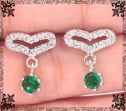 Heart White Topaz and Green Quartz Earrings in Alamogordo, New Mexico