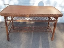 Wicker and wood table in Kingwood, Texas