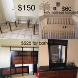 Furniture - Queen size bed frame, glass tables , baby crib in Hinesville, Georgia